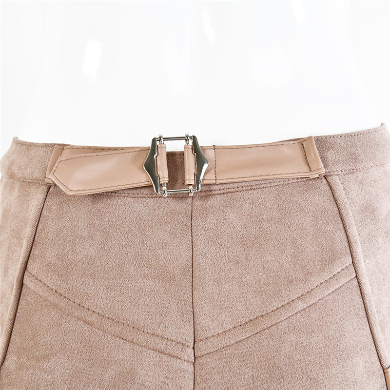 FREE OSTRICH Women 2019 High Waist Pants Skinny Belt Buckle Solid Button Pencil Pants Suede Gothic Leggins Fashion Streewear 926