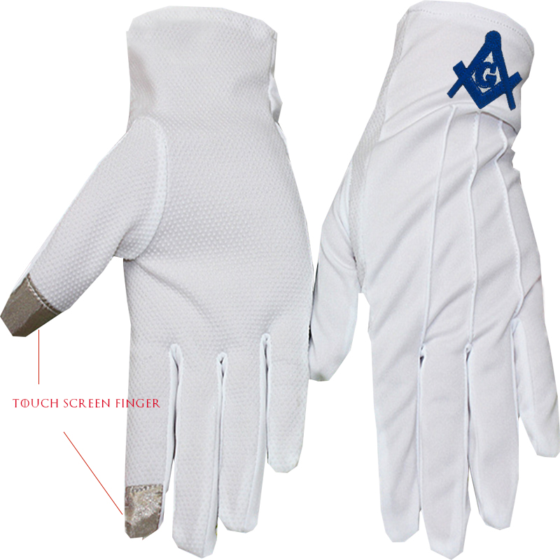 INFITI 1 Pair Of White Touch Screen Gloves, Custom Embroidered White Gloves, Mason Accessories, Cover, Butler Premium Polyester