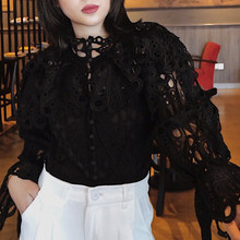 Hollow Out Lace Ruffled Women's Shirts Stand Neck Long Sleeve Sexy Black Ladies Casual Mujer Fashion Blouses 49-5(China)