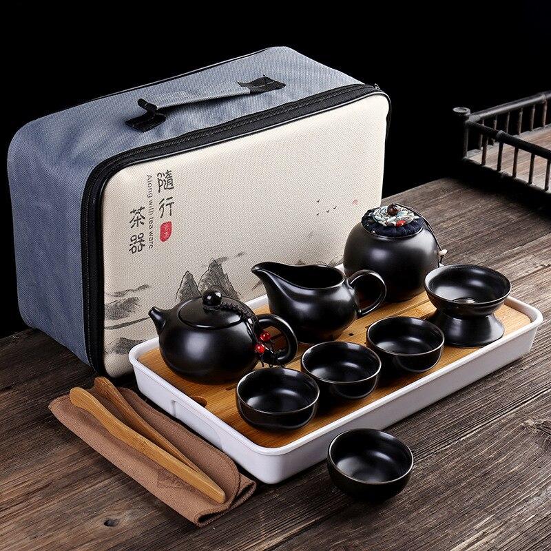 אישית הסיני קונג פו Teaset קרמיקה נייד קומקום סט חיצוני נסיעות Gaiwan תה כוסות של תה טקס ספל תה בסדר מתנות