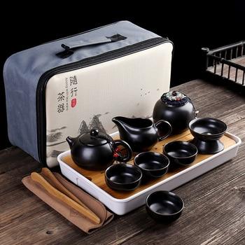 Customize Chinese Kung Fu Teaset Ceramic Portable Teapot Set Outdoor Travel Gaiwan Tea Cups of Tea Ceremony Teacup Fine Gifts недорого