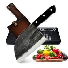 XYj كامل تانغ الشيف التخييم الصربي سكين الجزار هدية غطاء صندوق غمد اليدوية مزورة يرتدون الصلب المطبخ الساطور سكين واسع