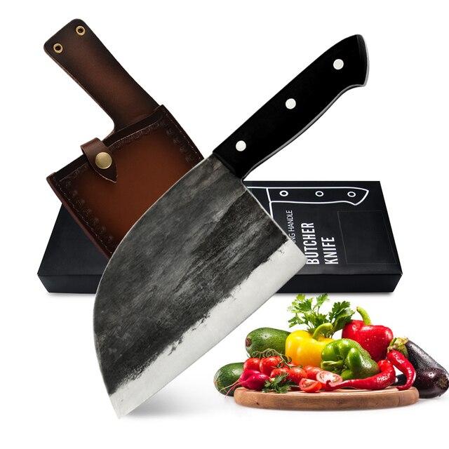 XYj מלא טאנג שף קמפינג סרבי הקצב סכין אריזת מתנה כיסוי נדן בעבודת יד מזויף בלבוש פלדה מטבח קליבר רחב סכין