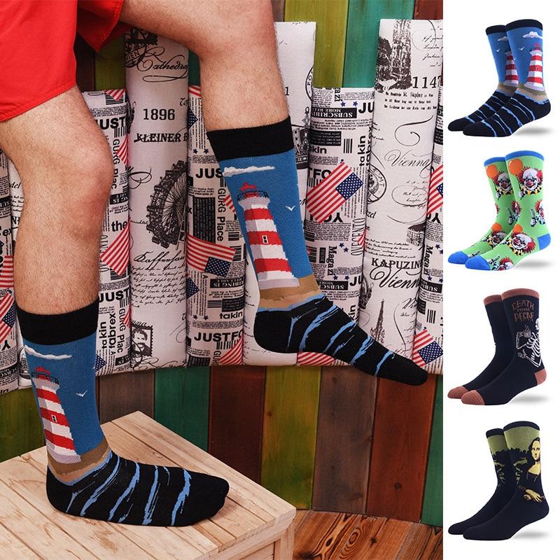 1Pair Male Crew Socks Men Casual Socks Cotton Fashion Creative Painting Funny Cute Male Socks Mid Length Stockings Lighthouse