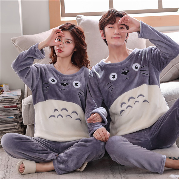 Flannel Pajamas For Couple Winter Warm Lovers' Sleepwear Korean Casual Cartoon Thick Pyjamas For Adult Women Men Adult Home Suit