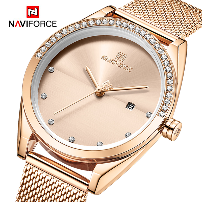 Top Luxury Brand NAVIFORCE Womens Watches Rose Gold Elegant Ladies Wristwatch Steel Strap Waterproof Bracelet Female Girls Clock