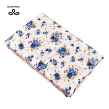 QUANFANG New small blue flowers Series,Printed Pattern Summer Apparel Fabric Imitation Silk Skirt Dress Shirt Material 50x145cm(China)