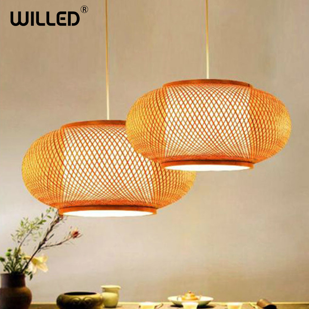 Modern LED Wood Pendant Lamp Hand Knitted Bamboo Kitchen Fixtures Light Suspension Home Indoor Dining Room Hanging Lamp Handmade