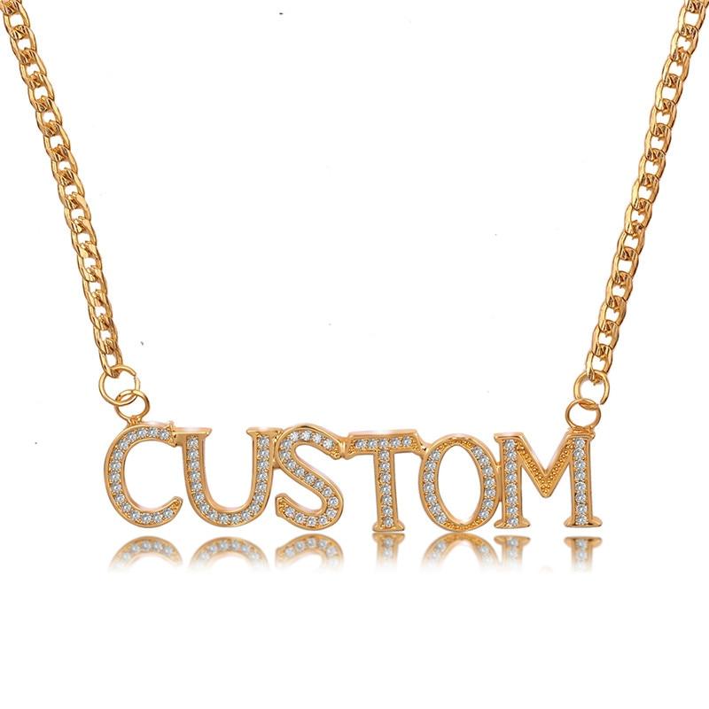 Personalizado Customized Copper Name Necklace Crystal Letters Necklace for Women Custom Naszyjnik Custom Name Pendant Nameplate