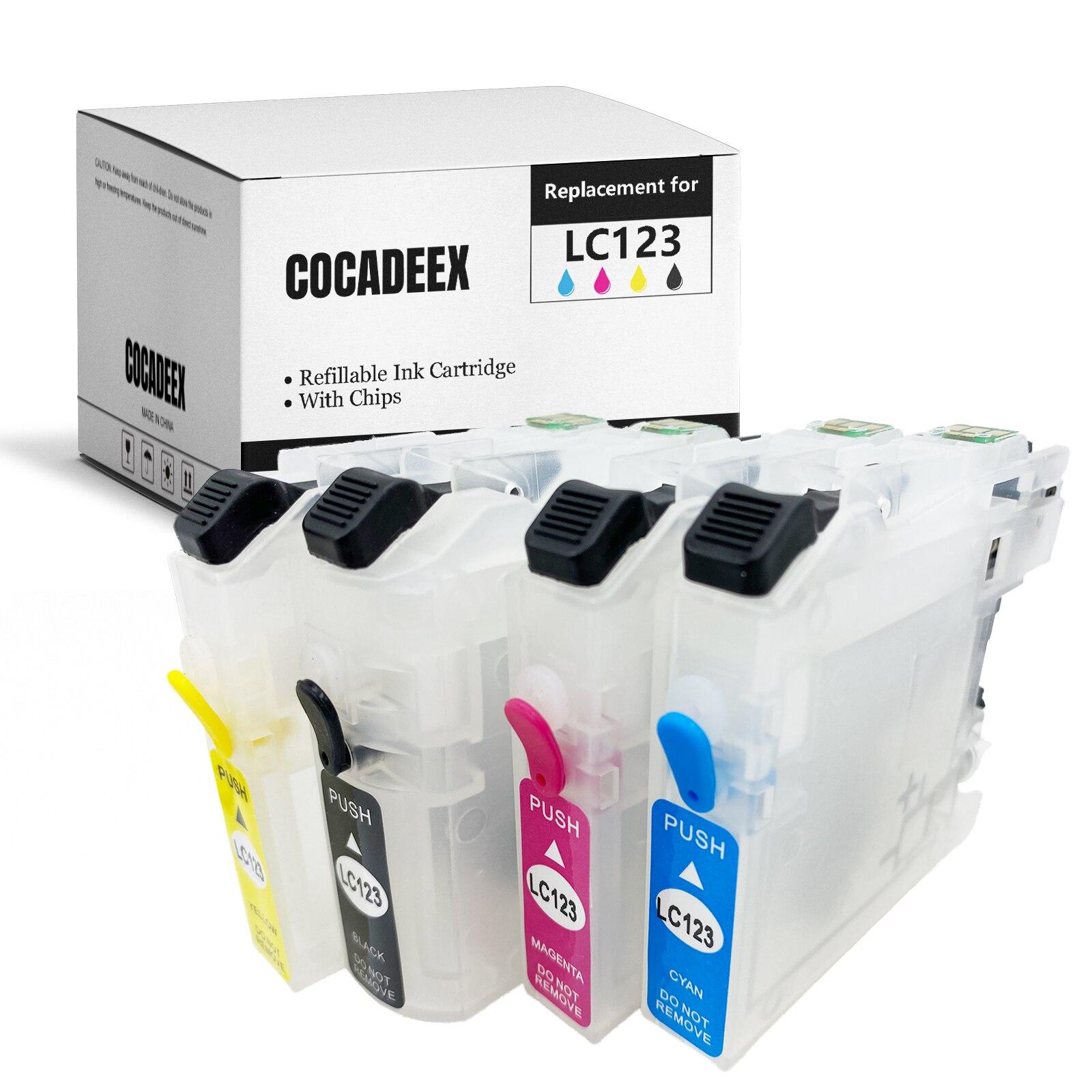 4 Pack/Set LC123 перезаправляемый картридж с чипом для Brother DCP-J4110DW DCP-J552DW DCP-J752DW DCP-J132W DCP-J152W принтер