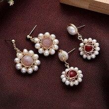 Новая мода корейский дизайн Висячие серьги из натурального жемчуга для женщин серебро 925 женские элегантные висячие серьги на день рождения ювелирные изделия для ушей