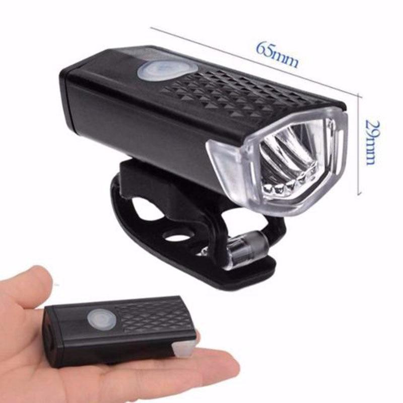 Bike Light USB Rechargeable 300 Lumen 3 Mode Bicycle Front Light Lamp Waterproof 6000K Bike Headlight Cycling LED Flashlight