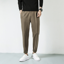 2021 New Casual Pants Men Wool Mix Thick Slim Fit Trousers Male Elastic Waist Stretch Man Clothes Autumn Winter Warm Bottoms
