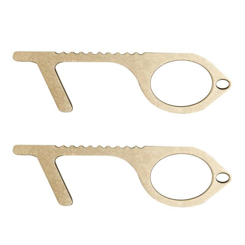 Contactless Safety Door Opener Safety Isolation Brass Key Door Opener Elevator Handle Portable Press Elevator Tool For Outdoor