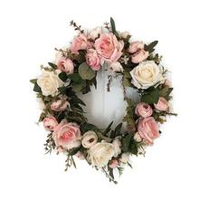Adeeing คลาสสิกการจำลองประดิษฐ์ดอกไม้ Garland สำหรับ Garden Room Garden ผ้าสำลีตกแต่ง