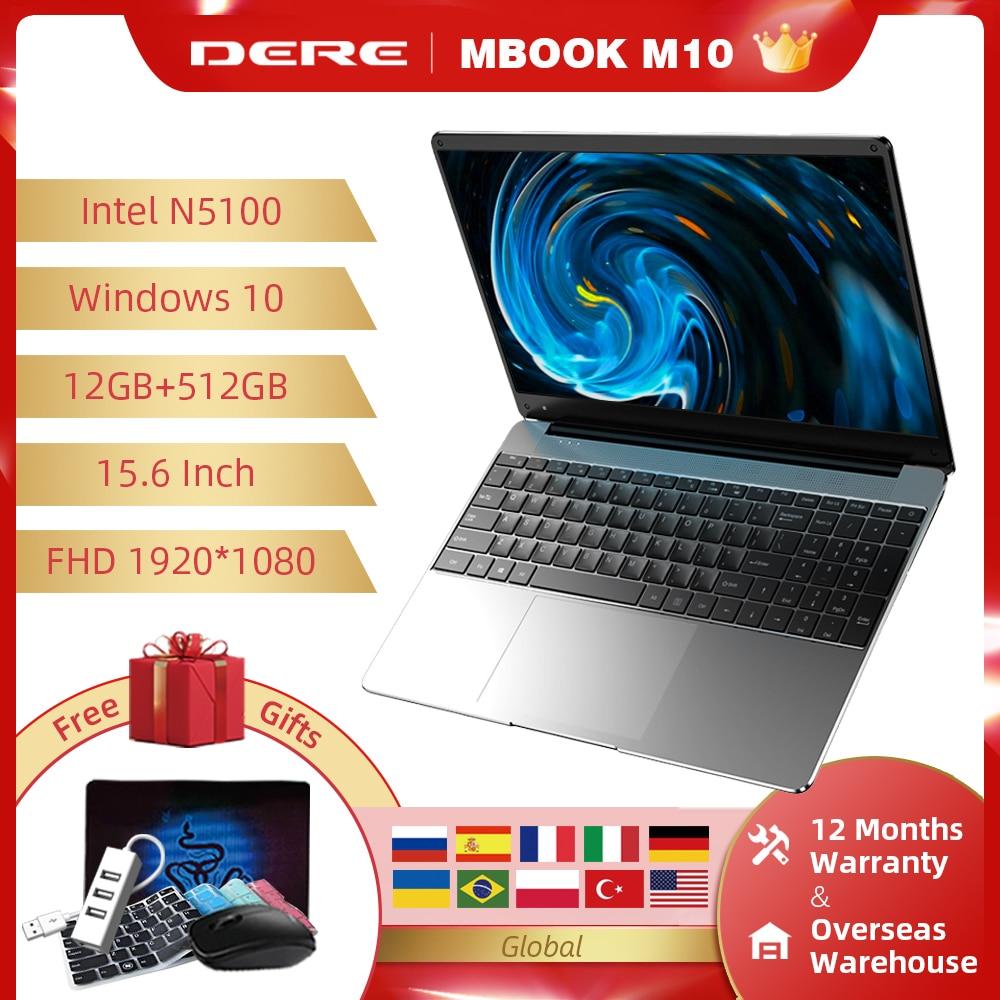Ноутбук DERE MBook M10, 15,6 дюйма, Intel Jasper Lake N5100 12 ГБ 512 ГБ FHD 1920*1080, ноутбук, компьютер на Windows 10, мини-ПК для студентов