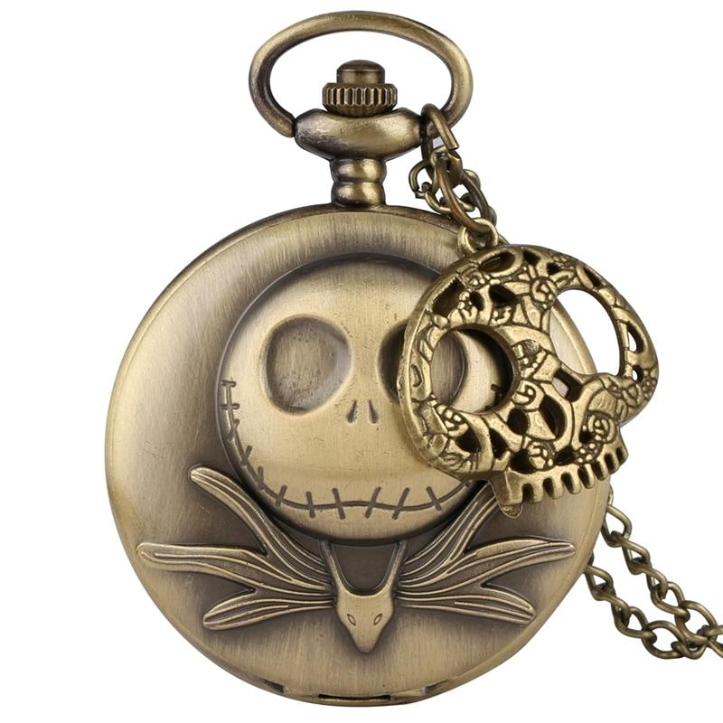 Tim Burton The Nightmare Before Christmas Quartz Pocket Watch Jack Skellington Pendant Retro Bronze Jewelry Fob Necklace Watches