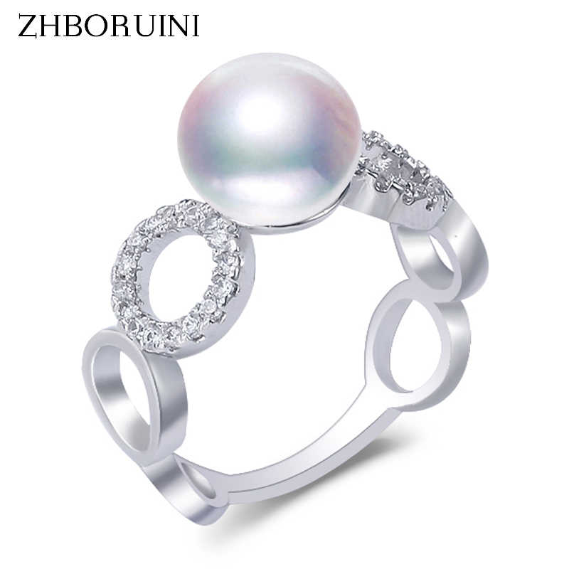ZHBORUINI Fine Pearl แหวนเครื่องประดับไข่มุกน้ำจืด Pearl Hollow OUT บิ๊กแหวน 925 เงินสเตอร์ลิงสำหรับผู้หญิงงานแต่งงานขายส่ง