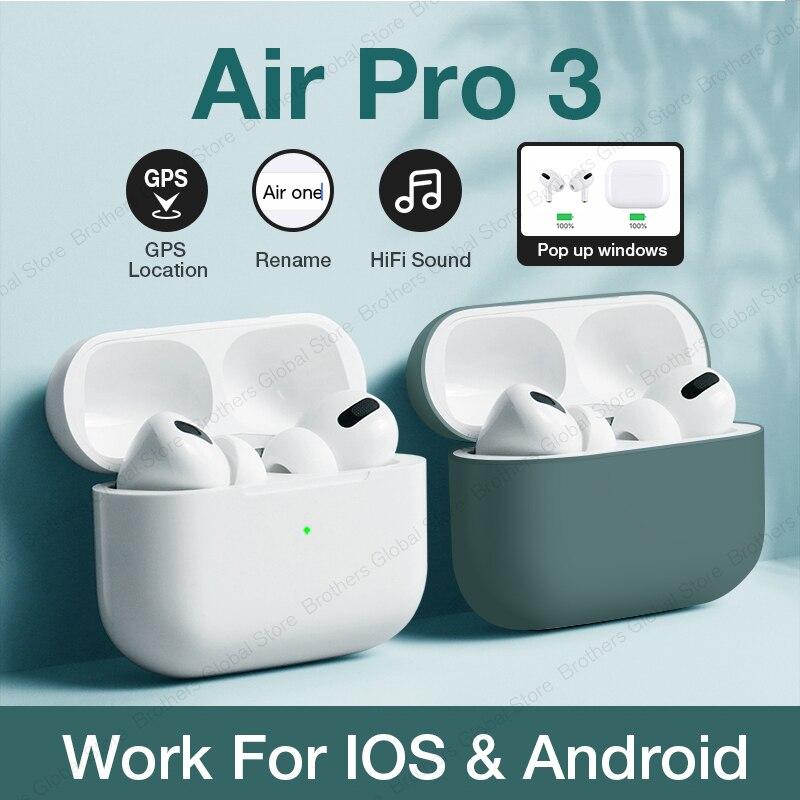 Original Air Pro 3 TWS Clone Airpodering Support Rename GPS Wireless Headphones Earbuds Bluetooth Earphone PK I90000 I12 Pro 2