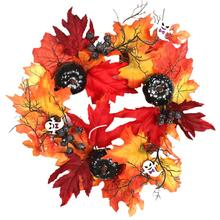 Colorful Fall  Door Decorative Wreath Orange Golden Maple Leaves Front