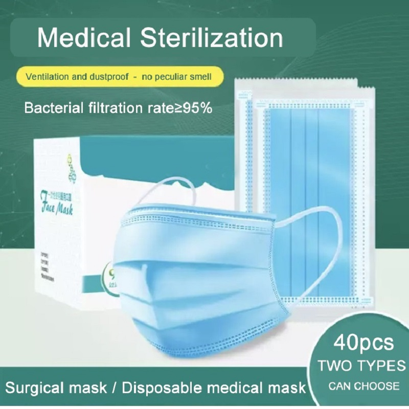 40pcs Facemask Virus Disposable Medical Masks Surgical Mask Anti PM2.5 Influenza Bacterial Facial Dust-Proof Safety Masks