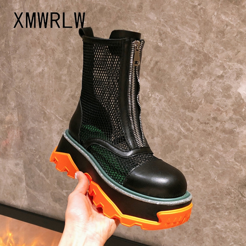 XMWRLW Genuine Leather Summer Women Boots Fashion Zip Shoes Breathable Mesh Women Mid-Calf Boots Ladies Summer Shoes Boot