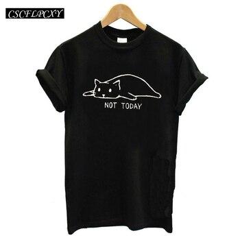 Funny Cat Graphic Tees Women Tshirt Not Today Print Kawaii T Shirt Women Top Femme Ulzzang Cartoon Hippie Camisetas Mujer