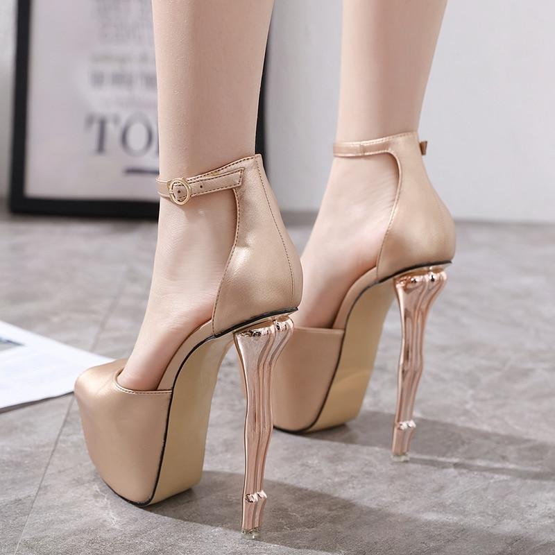 2020 Women Pumps Open Peep Toe Platform Beauty Buttocks High Heeled Shoes Women Heels Party Wedding Dress Super High Heel Shoes