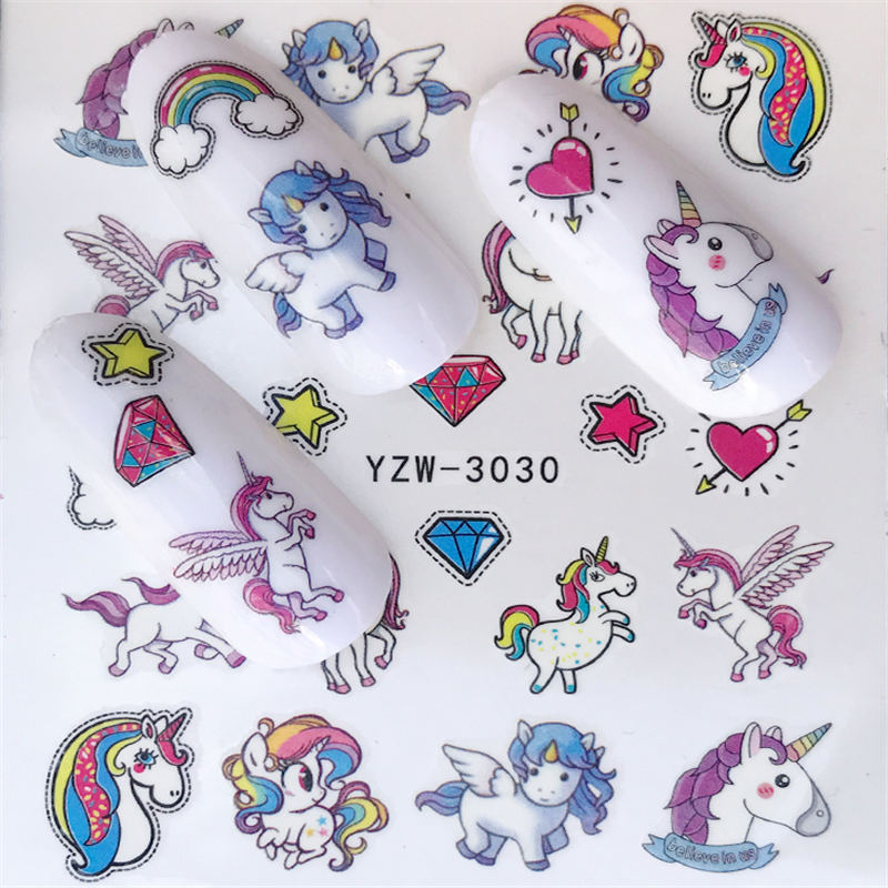 Наклейки для ногтей YWK, 1 шт., переводные наклейки для ногтей с водой, с цветами, лошадью, розой, гелевые наклейки для ногтей|Стикеры и наклейки|   | АлиЭкспресс