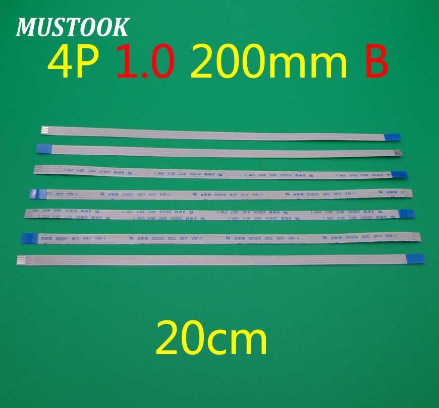 100 Buah/Banyak FFC Kabel Panjang 200 Mm 4 Pin 4PIN 1 Mm Pitch FFC Pita Kabel Datar Arah Sebaliknya
