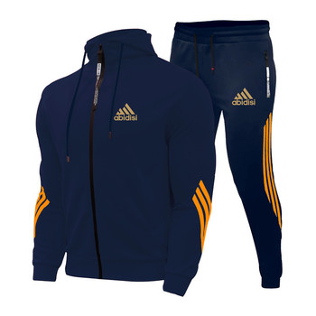 2021Spring And Autumn Brand Fashion Men's Sets Two-piece Striped Sportswear Men's Hooded Top Outdoor Sports Pants Tracksuit Suit 2