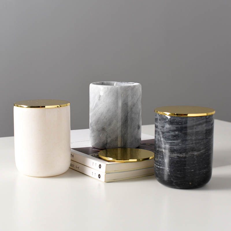 Natural Marble Candle Holder For Pillar Candle Europe Candlestick Nordic Home Decoration Wedding Candelabra with Stainless Cover