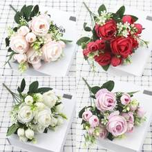 A bunch of beautiful artificial peony roses silk flowers DIY home garden party wedding decoration artificial flowers