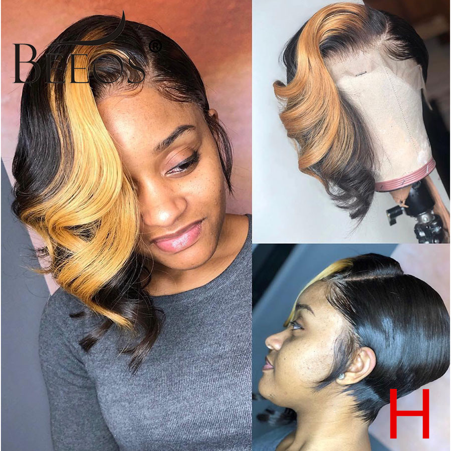 Short Wave Wave Pixie Cut 150%13*6 Deep Part Lace Front Human Hair Wig 1b/27 Honey Blonde Color Brazilian Remy Hair Bleach Knots