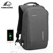 Kingsons-mochila multifunción con carga USB para hombre, morral para ordenador portátil de 13 y 15 pulgadas, a la moda, antirrobo