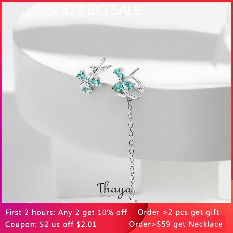 Thaya Asymmetry Blue Petal Jewelry 925 Silver Earrings Statement Earrings For Women Original Fine Jewelry