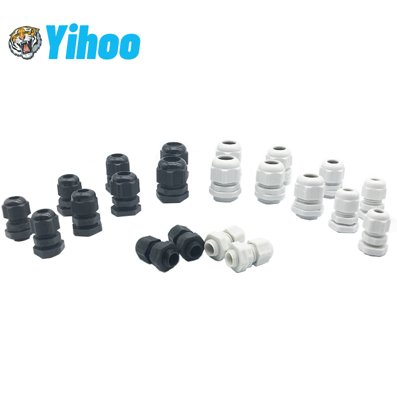 10pcs IP68 PG7 For 3-6.5mm PG9 PG11 PG13.5 PG16 PG19 Wire Cable CE White Black Waterproof Nylon Plastic Cable Gland Connector