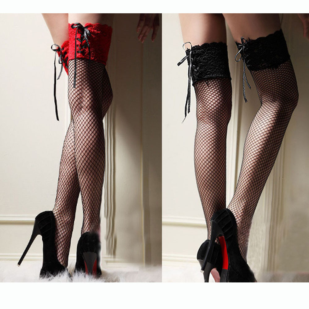 Women Sexy Red Widen Lace Stocking Sheer Straps Lace Fishnet Mesh Top Thigh High Sexy Lingerie Tight High Black Stockings Gifts