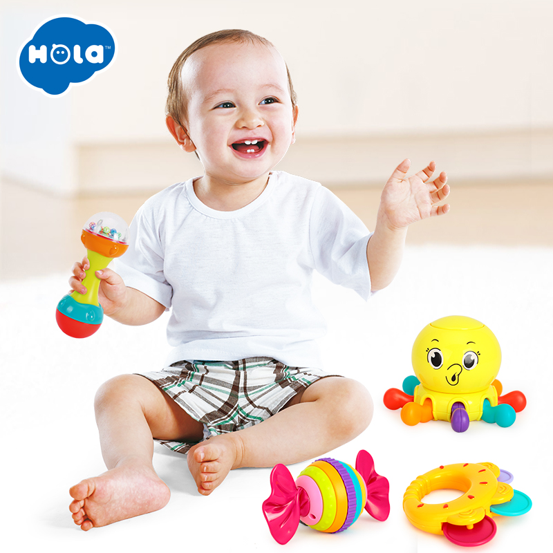 3PCS/Lot Baby Toys Bell Ball Geometric Shape Plastic Rolling Ball And Baby Rattle Learning Educational Toys 0-12 Months
