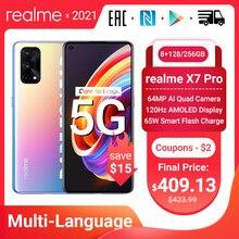 Realme için X7 Pro 5G Smartphone 8GB 128GB 6.55 inç 120Hz AMOLED ekran 64MP dört kameralar 4500mAh 65W hızlı şarj Dimensity 1000 NFC