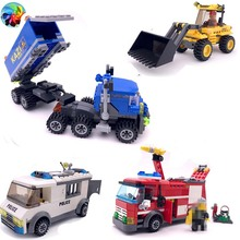 bulldozer Excavating vehicle trucks fire engine polices Educational Assembled Models Building Blocks Compatible small Bricks toy