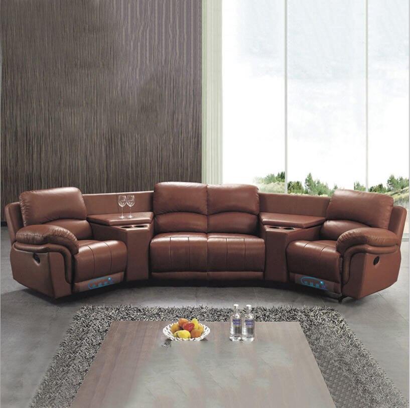 Ensemble de canapé de salon, canapé-lit en cuir véritable, canapé-lit 4 places