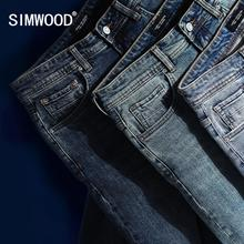 SIMWOOD Casual Pants Jean Trousers Classical Straight Plus-Size Cotton High-Quality Denim