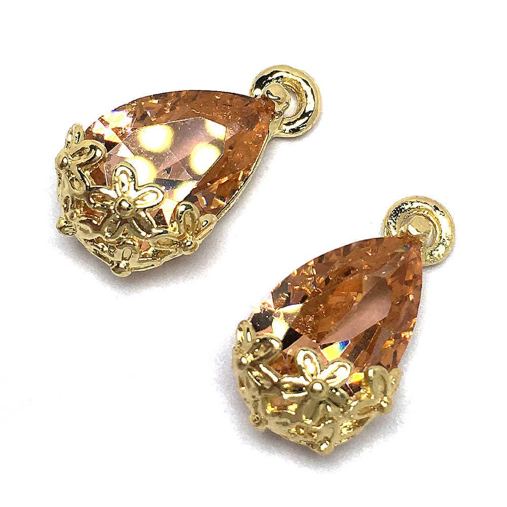 Batu Alam Liontin Air Drop Bentuk Emas Bunga Yang Dihiasi Kuarsa Liontin untuk DIY Elegan Kalung Perhiasan Membuat Accessorie