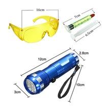Leak Detection Kit A/C Automotive Fluid Gas Safety Glasses W/ 14LED UV Light Set