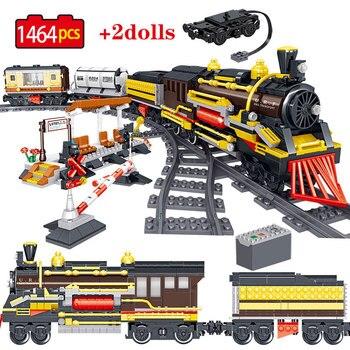 1464PCS Stadt Eisenbahn Ziegel Compatibe Technik Serie Track Zug High-speed Rail Bausteine Spielzeug Für Kinder Jungen