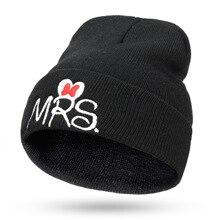 Новые зимние детские шапки с вышивкой вязаная шапочка с надписью «MR/MRS» теплые детские шапки Мягкие вязаные шапочки Детские вязаные шапочки хлопковая вязаная шапка