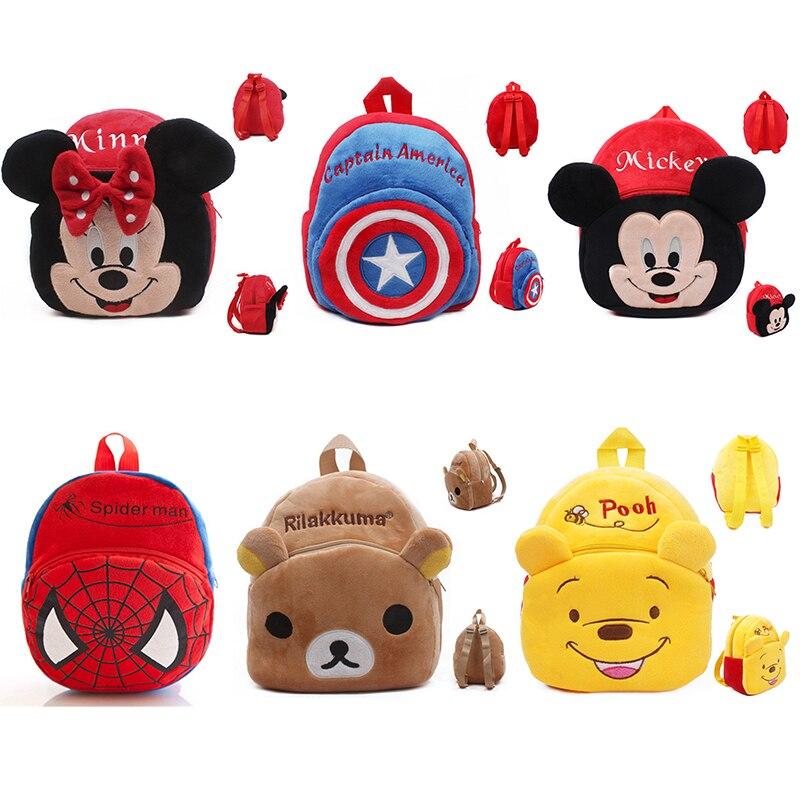 Disney Cartoon Backpack Kindergarten Cute School Bag Plush Toys Mickey Mouse Minnie Winnie The Pooh The Avengers Figures Kid Bag