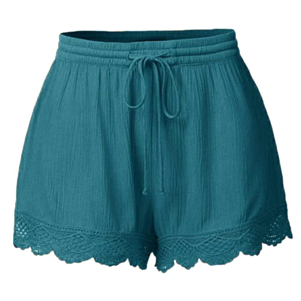 Hot Women Solid Shorts Loose Middle Waist Embroidery Hem Casual Shorts With Belt CGU 88