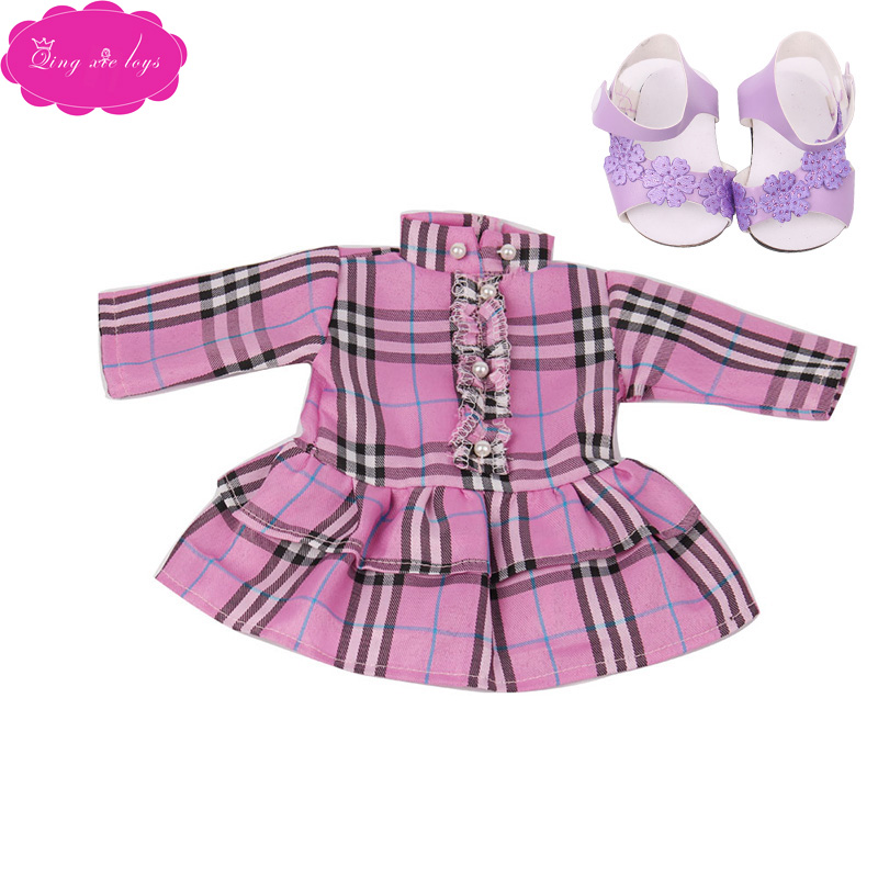 18 inch Girls doll dress Casual print dress with shoes American newborn skirt Baby toys fit 43 cm baby dolls c58 in Dolls Accessories from Toys Hobbies